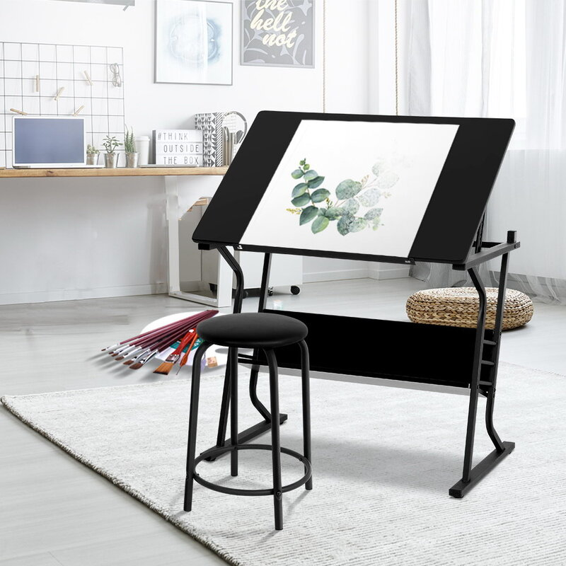 Tremendous Artiss Drawing Desk Drafting Table Craft Adjustable Glass Art Tilt Drawers Black Metal Download Free Architecture Designs Lukepmadebymaigaardcom