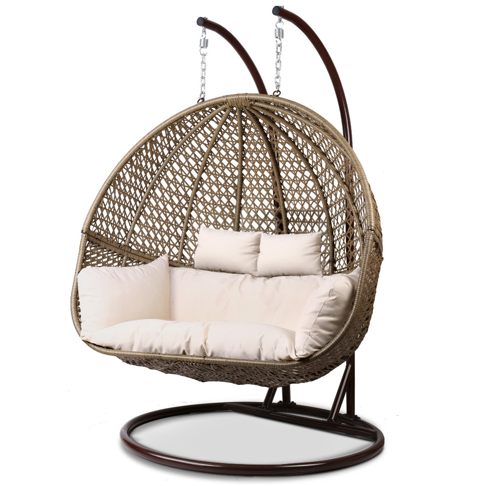 Gardeon Outdoor Double Hanging Swing Chair Brown Buy Hanging