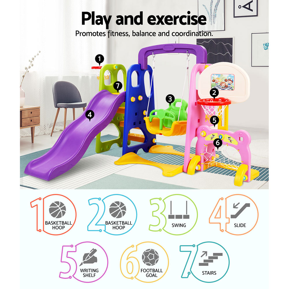Keezi Kids Slide Swing with Basketball Hoop Outdoor Indoor Playground Play  slides