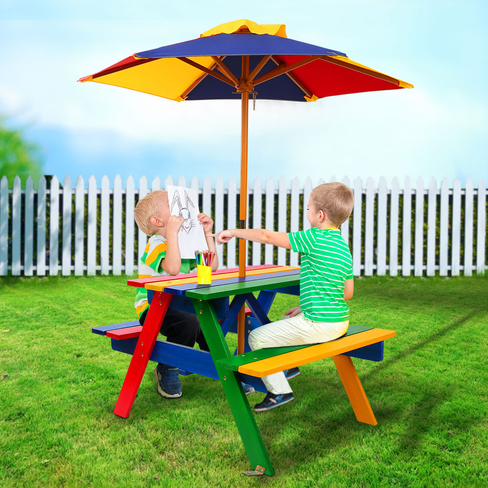 Incredible Keezi Kids Wooden Picnic Table Set With Umbrella Download Free Architecture Designs Scobabritishbridgeorg