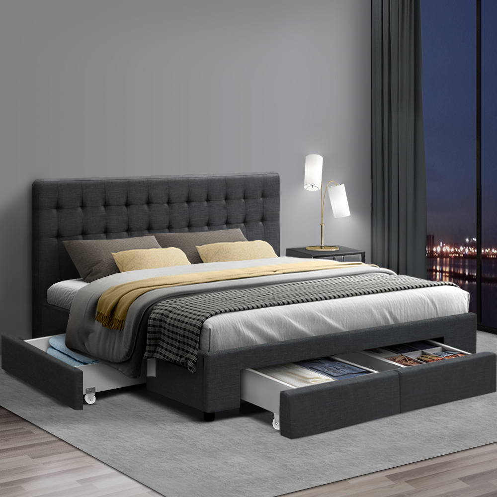 the latest 56d86 7f26b Artiss King Size Fabric Bed Frame Headboard with Drawers - Charcoal