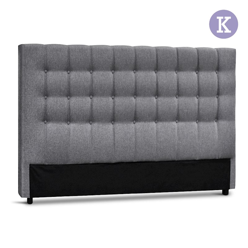 artiss king size upholstered fabric headboard grey buy king size headboard 9350062151129. Black Bedroom Furniture Sets. Home Design Ideas