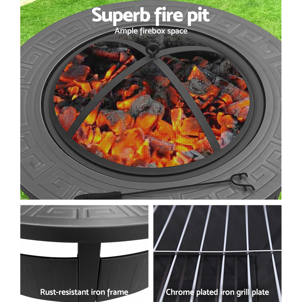Grillz Round Outdoor Fire Pit BBQ Table Grill Fireplace ...