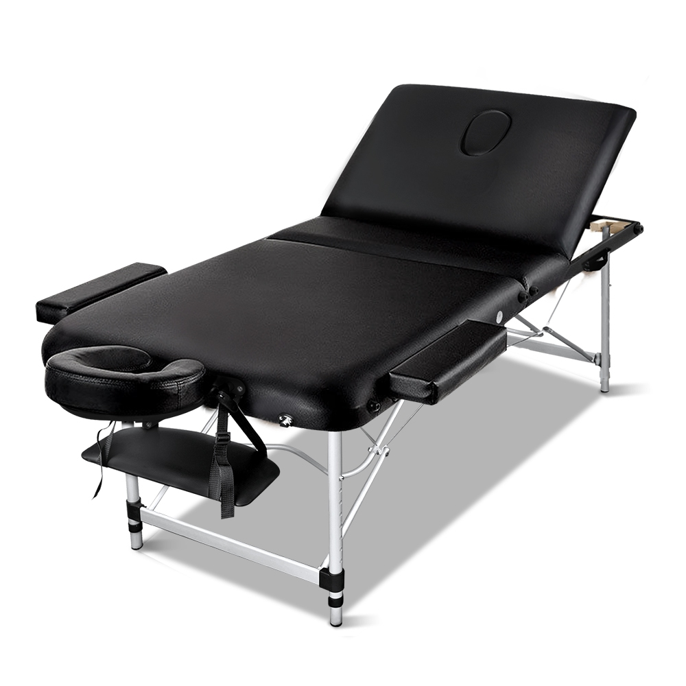 7579bf75c784 h m s Remaining. Zenses 70cm Portable 3 Fold Aluminium Massage Table  Therapy Beauty Waxing Bed Black