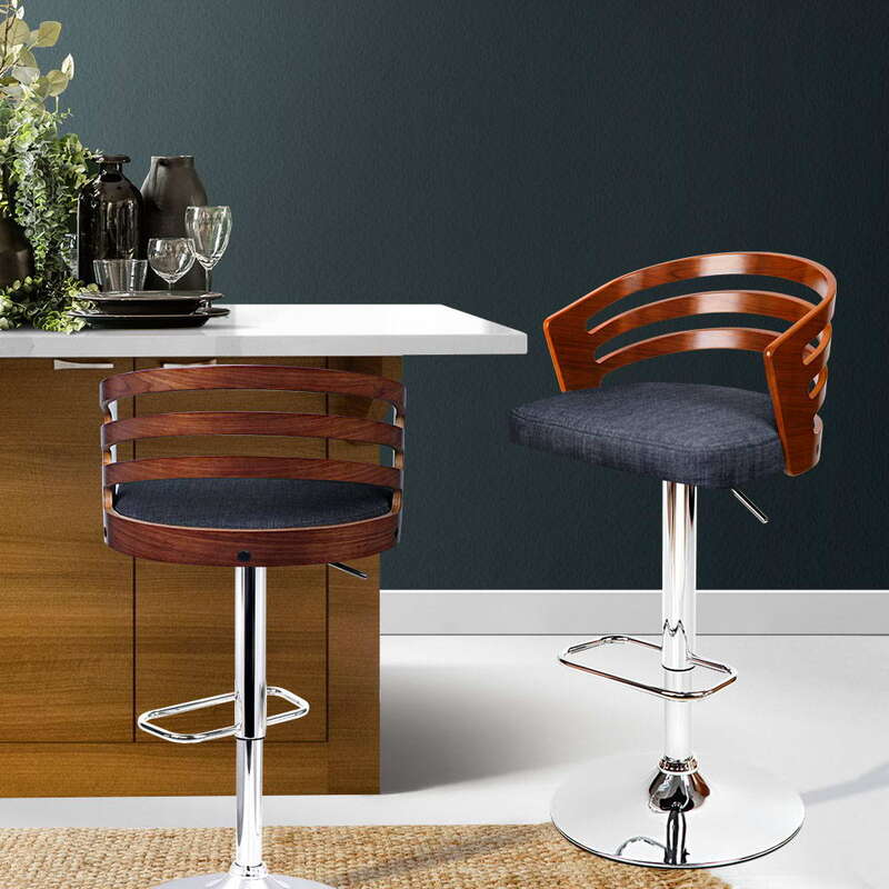 Artiss Wooden Bar Stool With Fabric Seat Dark Grey