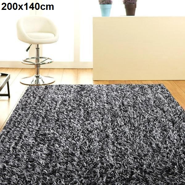 Black And White Rugs Adelaide: High Density Shaggy Rug Black And White 200x140cm