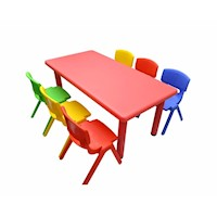 Adjustable Red Rectangle Kid's Table with 6 Chairs