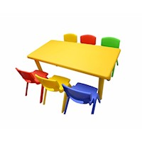 Adjustable Yellow Rectangle Kid's Table w/ 6 Chairs