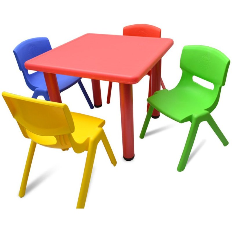 Adjustable Red Square Kid S Table With 4 Chairs Buy Kid