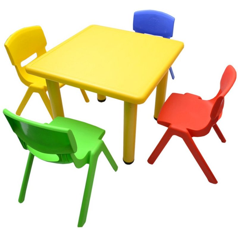 Adjustable Yellow Square Kid's Table with 4 Chairs | Buy ...
