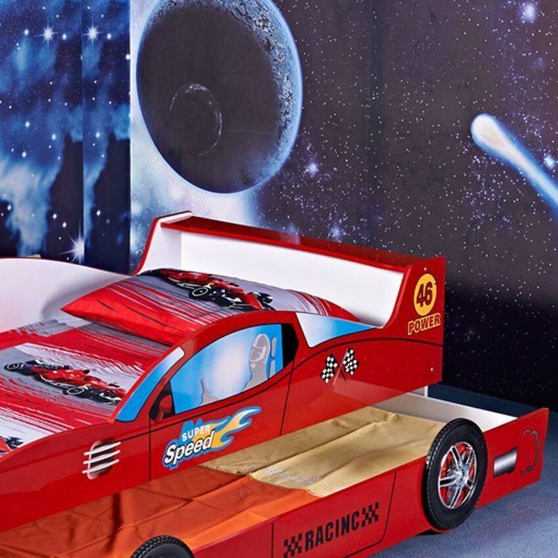 Kids Single Mdf Racing Car Bed Frame W Trundle Red Buy