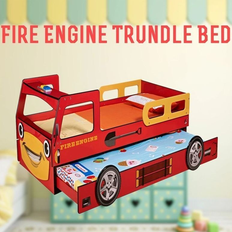 kids single mdf fire truck bed frame w trundle red