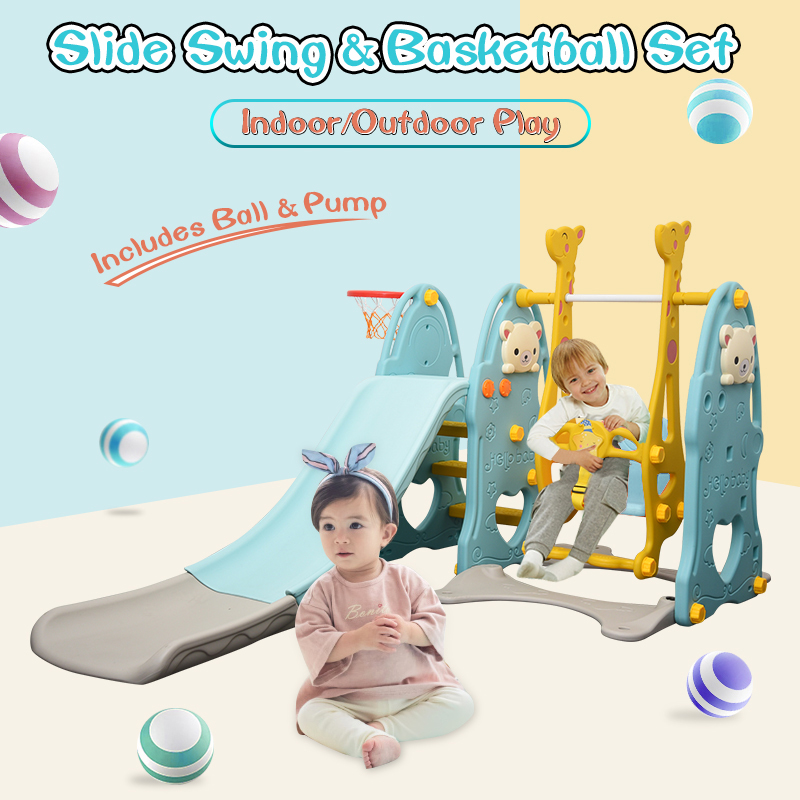 3 In 1 Kids Toddler Slide Swing Acticity Centre With Basketball Hoop