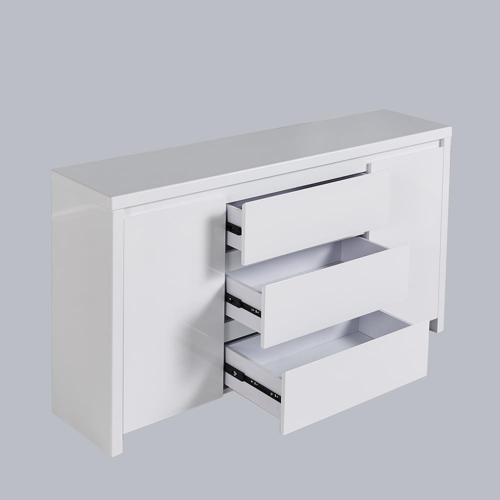 High Gloss Piano Finish White Buffet Sideboard with 3 Drawers Buy Sideboards& Buffets 710290