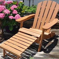 HDPE Plastic Adirondack Chair w/ Built-In Footstool