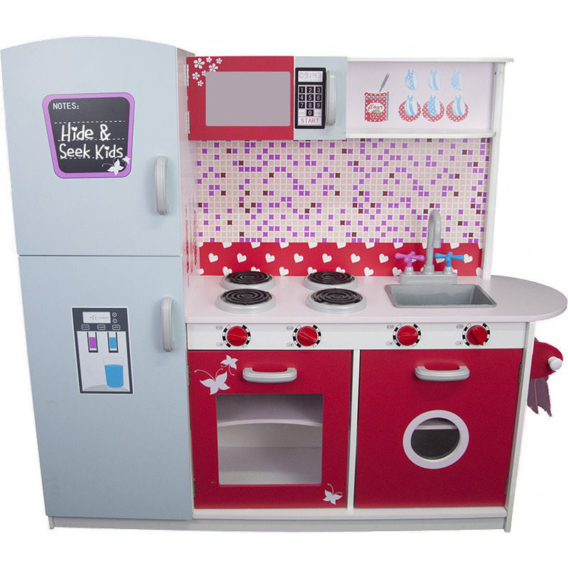 Kids MDF Wood Play Kitchen W Fridge And Oven In Red