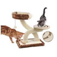 2 Level Crossover Cat Scratcher Tree with Ball Run