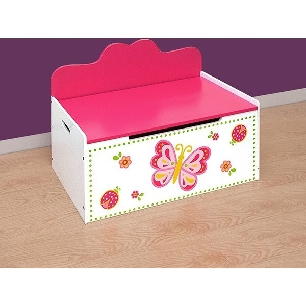 Kids Storage Bench Furniture Toy Box Bedroom Playroom: Kids Wooden Toy Box Bench In Pink & White Butterfly