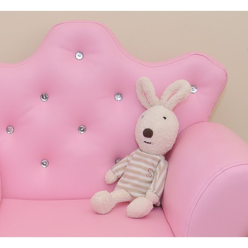 Pink Kids Sofa Pvc Leather Princess Crystal Design Buy
