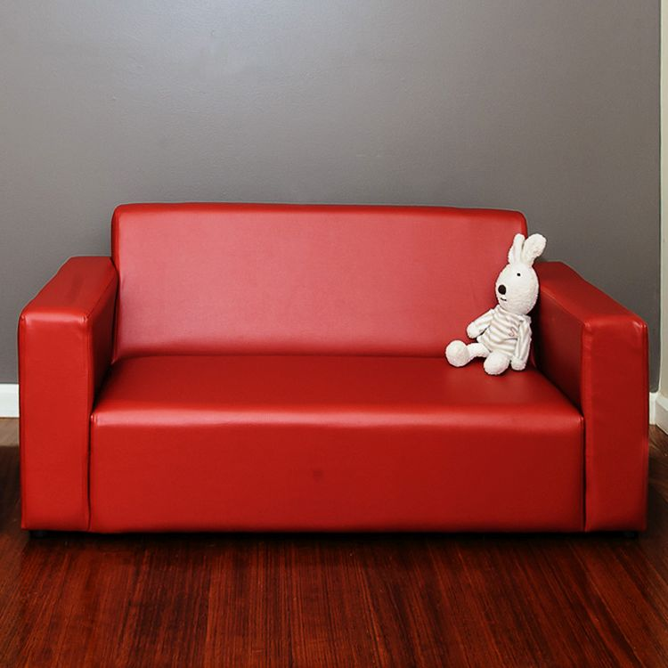 Kids PVC Leather 2 Seater Sofa Couch In Red