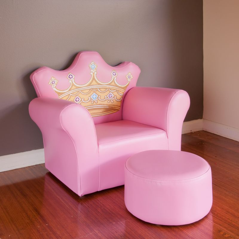 Kids Princess Crown Pvc Leather Sofa Chair In Pink Buy