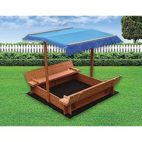 Outdoor Wooden Sandpit with UV Protected Canopy