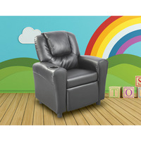 Kid's Faux Leather Recliner Sofa Chair in Black