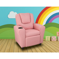 PU Leather Kid's Size Recliner Sofa Chair in Pink
