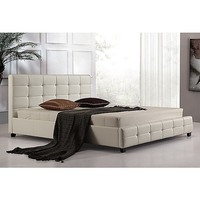 Palermo King Size Square PU Leather Bed Frame White