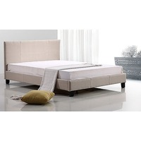Classic Queen Upholstered Fabric Bed Frame in Biege