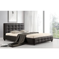 Palermo Deluxe PU Leather Queen Bed Frame in Black