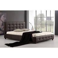 Palermo Deluxe Queen PU Leather Bed Frame Brown
