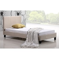 Palermo Single Linen Fabric Bed Frame Base in Beige