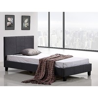 Palermo Single Size Stitched Fabric Bed Frame Grey