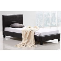 Palermo Single Size PU Leather Bed Frame in Brown