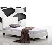 Single Size PU Leather Bed Frame in White