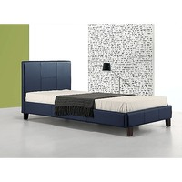 Palermo Single Size PU Leather Bed Frame in Blue