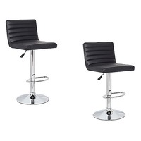 2x Stitched Gas Lift PU Leather Bar Stools in Black