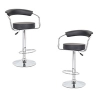 2x Minimalist PU Leather Gas Lift Bar Stool Black