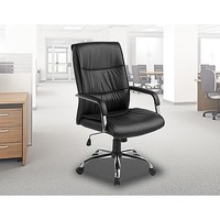 PU Leather Swivel Gas Lift Office Chair in Black