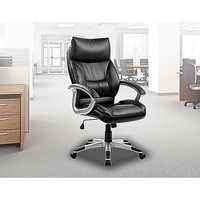 PU Leather Gas Lift Swivel Office Chair in Black
