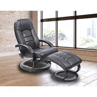 Black PU Leather Electric Massage Chair w/ Ottoman