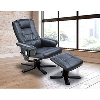 Massage Chair Recliner with Remote & Ottoman  Black
