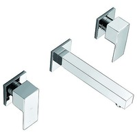 3 Piece Bathroom Square Bath Spout & Taps Set