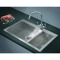 Top Mount Double Bowl Steel Kitchen Sink 745x505mm