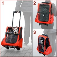 Dog Pet Safety Travel Backpack & Trolley Carrier