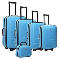 5 Size Blue Fabric Travel Luggage Set w Beauty Case