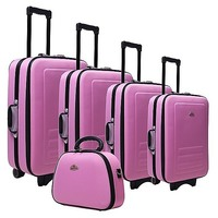 5 Size Pink Fabric Travel Luggage Set w Beauty Case