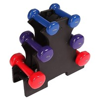 6 Piece Dumbbell Weights Set 0.5kg - 1.5kg w/ Rack