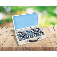 Deluxe Boules Bocce 8 Alloy Ball Set & Wooden Case